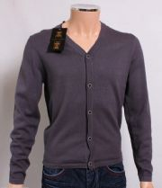 Holland Esquire DK Grey COTTON & SILK V Neck Cardigan Jumper Sweater SMALL *BNWT*